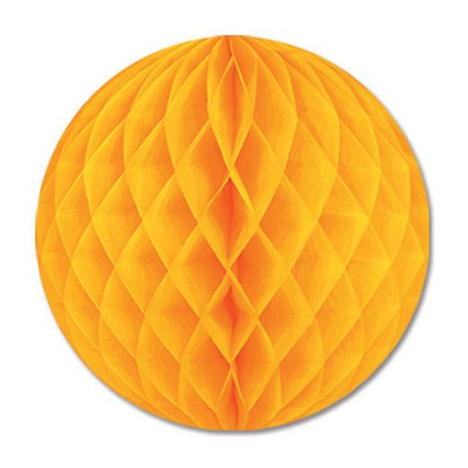 "Thanksgiving Decorations 12"" Golden Yellow Tissue Ball Image"