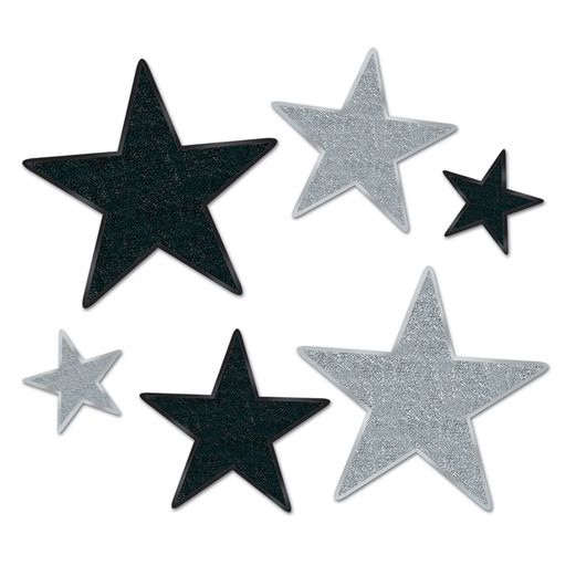 New Years Decorations Black and Silver Glittered Stars Image