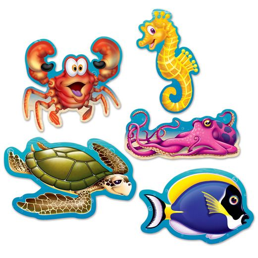 Luau Decorations Mini Under the Sea Cutouts Image