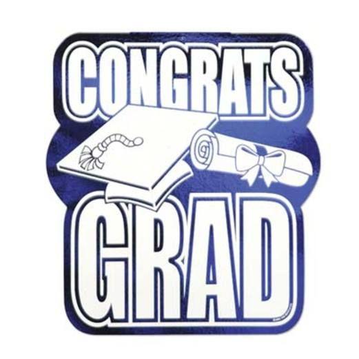 Graduation Decorations Blue Congrats Grad Cutout Image