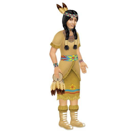 Thanksgiving Decorations Jointed Indian Princess Cutout Image