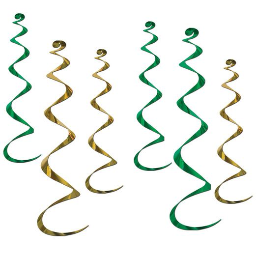 Christmas Decorations Green Gold Twirly Whirlys Image