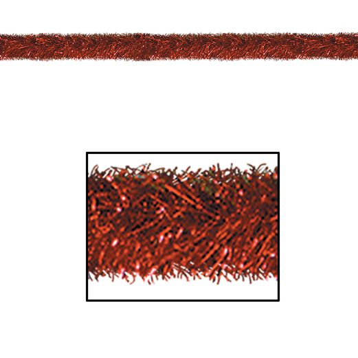 Christmas Decorations Red 100' Tinsel Garland Image