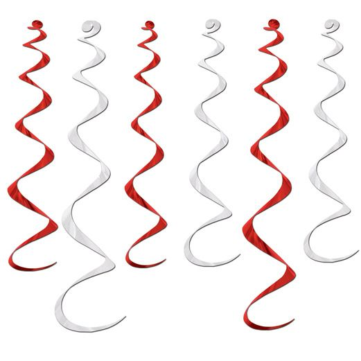 Valentine's Day Decorations Red and White Twirly Whirlys Image