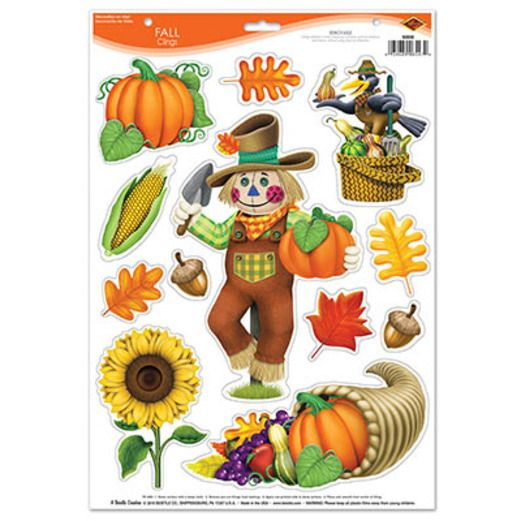 Thanksgiving Decorations Fall Clings Image
