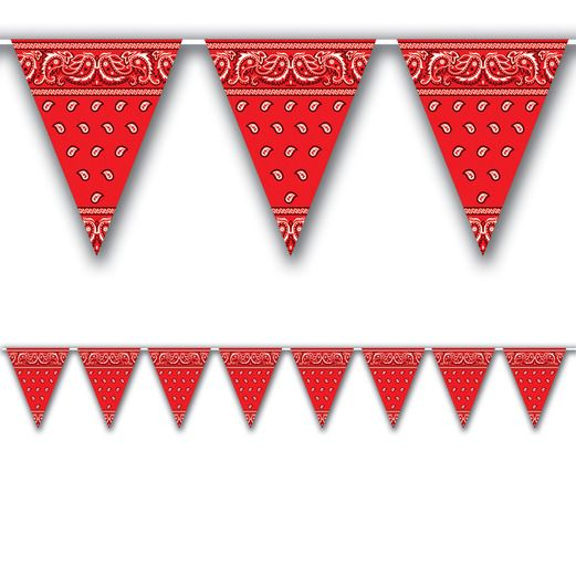 Western Decorations Red Bandana Pennant Banner Image