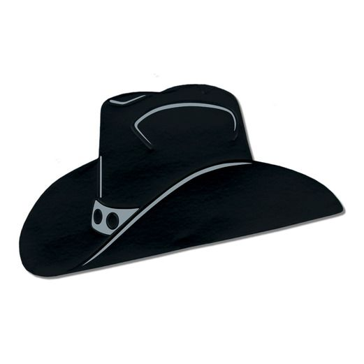 Western Decorations Black Foil Cowboy Hat Cutout Image