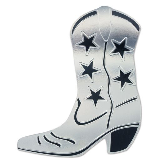 Western Decorations Silver Foil Cowboy Boot Cutout Image