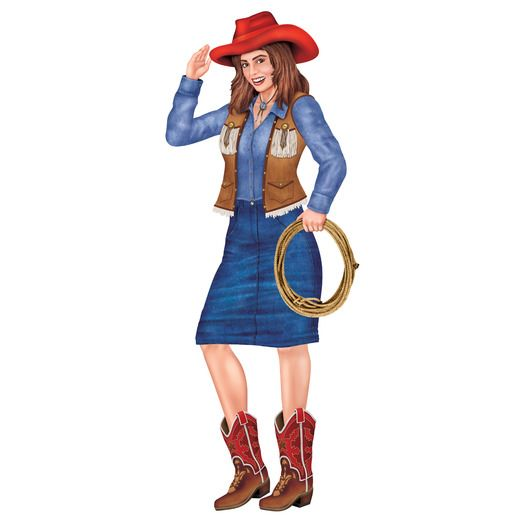 Western Decorations Jointed Cowgirl Image