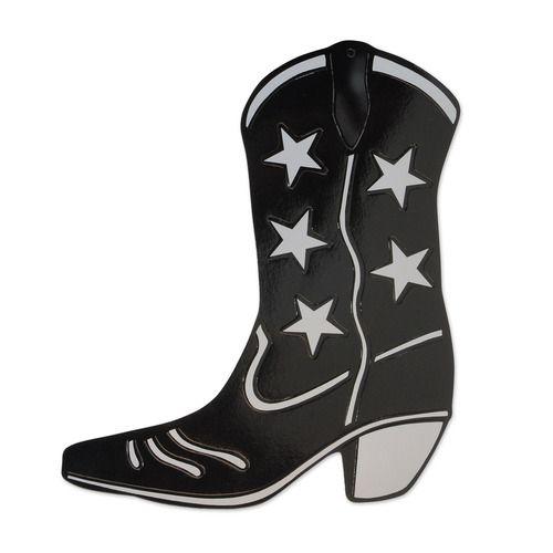 Black Foil Cowboy Boot Cutout
