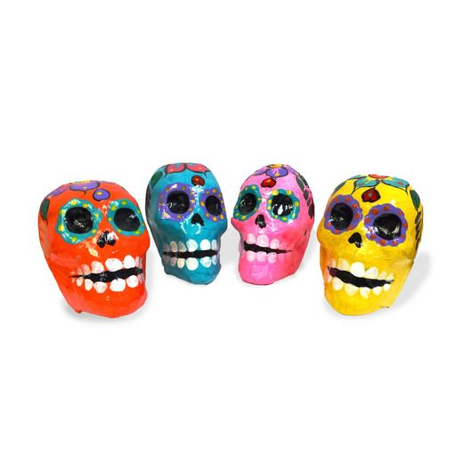 Day of the Dead Decorations Paper Mache Skulls Image
