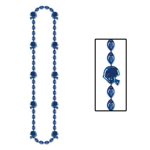 Football Beads Blue Necklace