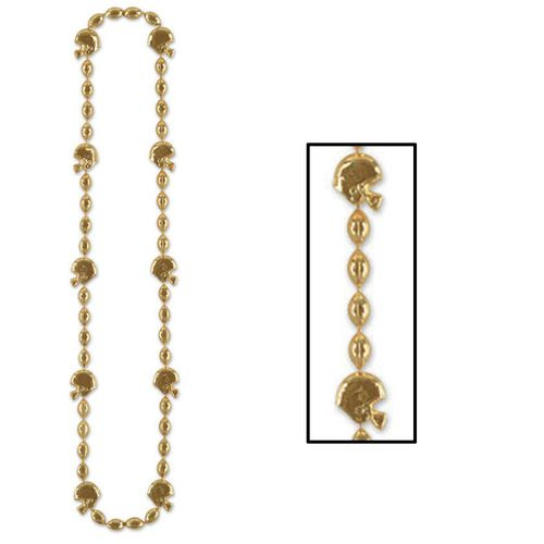 Football Beads Gold Necklace