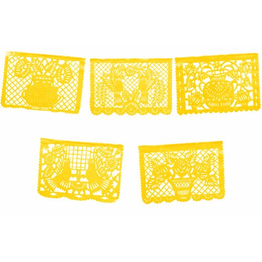 Cinco de Mayo Decorations Large Yellow Plastic Picado Image