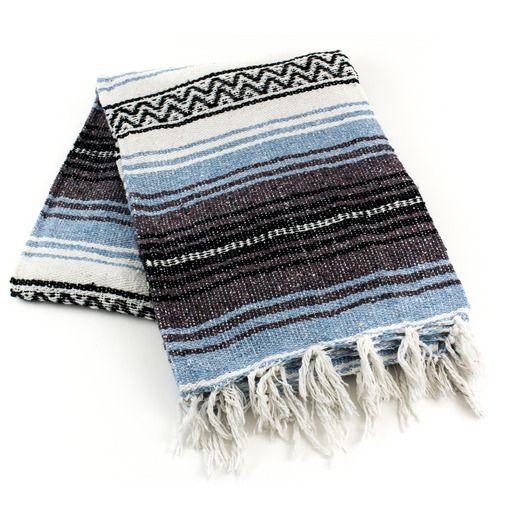 Cinco de Mayo Decorations Light Blue Mexican Blanket Image