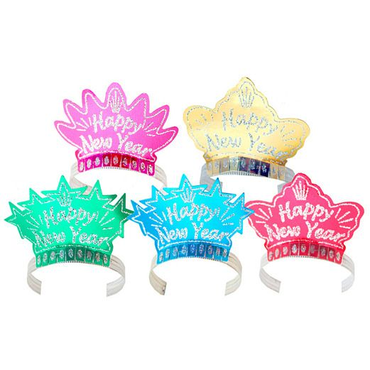 New Years Hats & Headwear Glittered Happy New Year Tiara Image