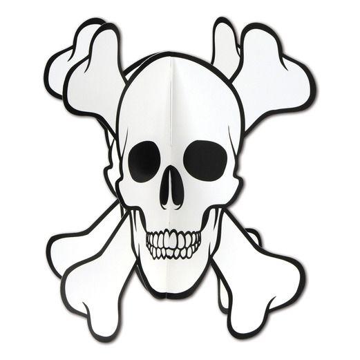 Halloween Decorations 3-D Skull and Crossbones Centerpiece Image