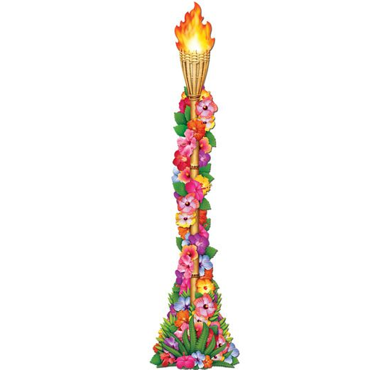 Luau Decorations Jointed Flower Tiki Torch Image