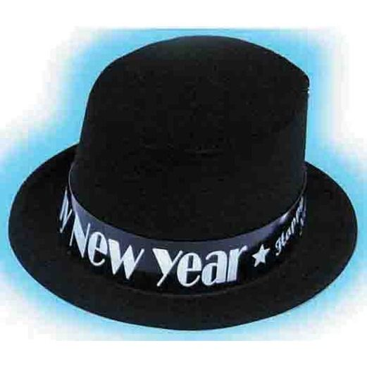 New Years Hats & Headwear Black Velour Happy New Year Top Hat Image