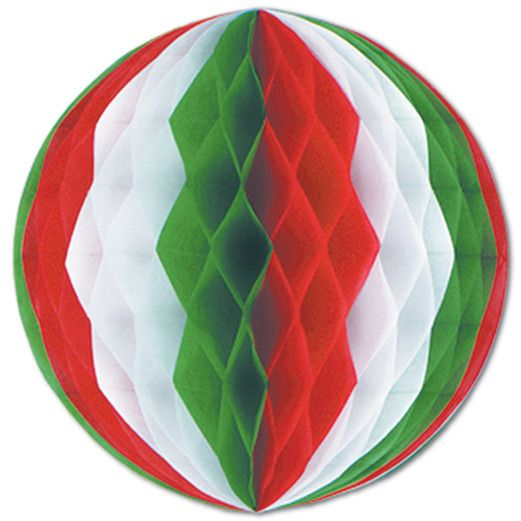 "Fiesta Decorations 19"" Red-White-Green Tissue Ball Image"
