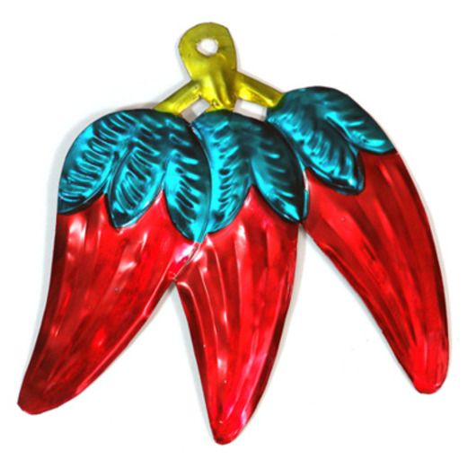 Red Three Pepper Tin Ornament