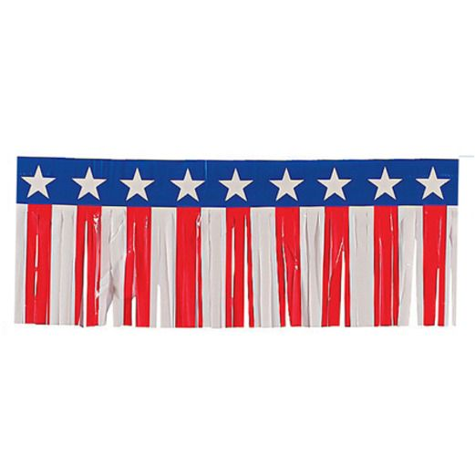 4th of July Red, White and Blue Plastic Fringe Garland Image