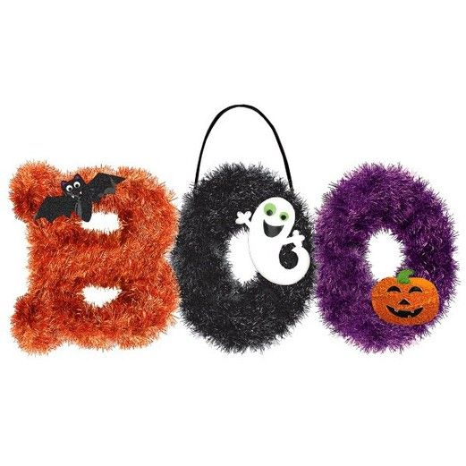 Halloween Decorations BOO Tinsel Sign Image