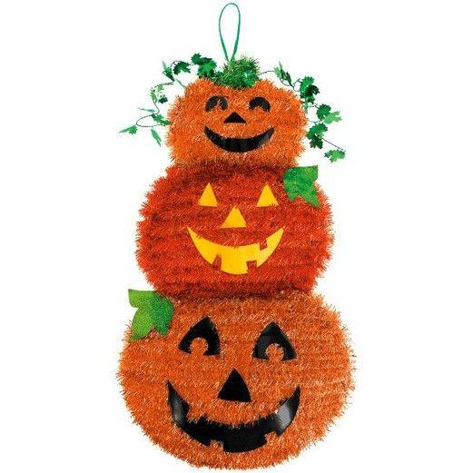 Halloween Decorations Jack-O-Lantern Stack Tinsel Decoration Image