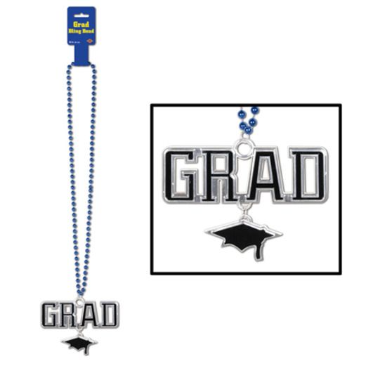 Graduation Party Wear Blue Bead Necklace with Grad Medallion Image