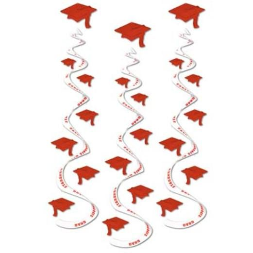Graduation Decorations Red Printed Grad Cap Whirls Image