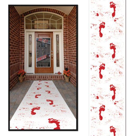Halloween Table Accessories Bloody Footprints Runner Image