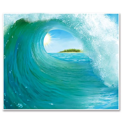 Luau Decorations Surf Wave Backdrop Image