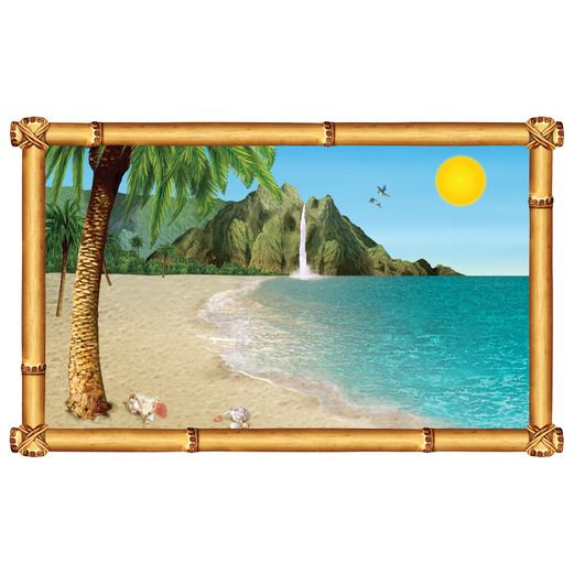 Luau Decorations Tropical Beach Backdrop Image