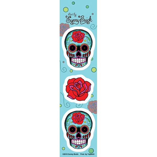 Day of the Dead Favors & Prizes Mini Rose and Sugar Skull Stickers Image