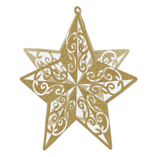 New Years Decorations Gold 3D Glitter Star Centerpiece Image