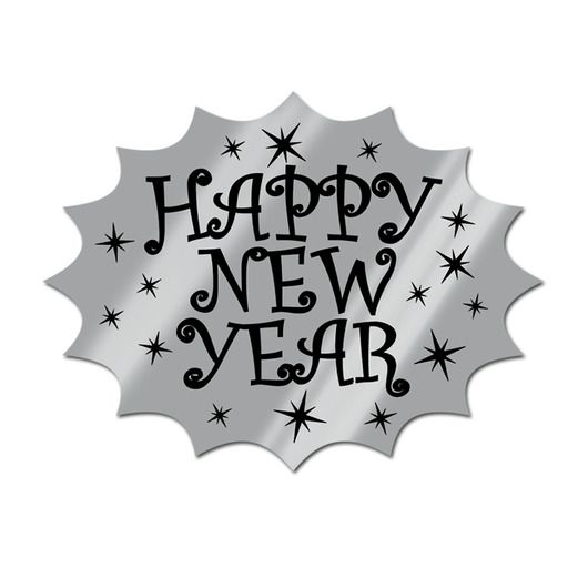 New Years Decorations Silver Happy New Year Cutout Image