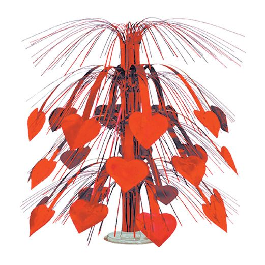 Valentine's Day Decorations Red Heart Cascade Centerpiece Image