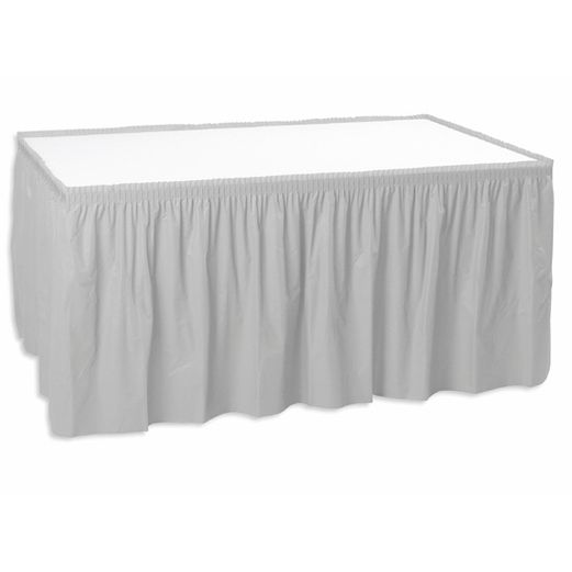 New Years Table Accessories Table Skirt Silver Image