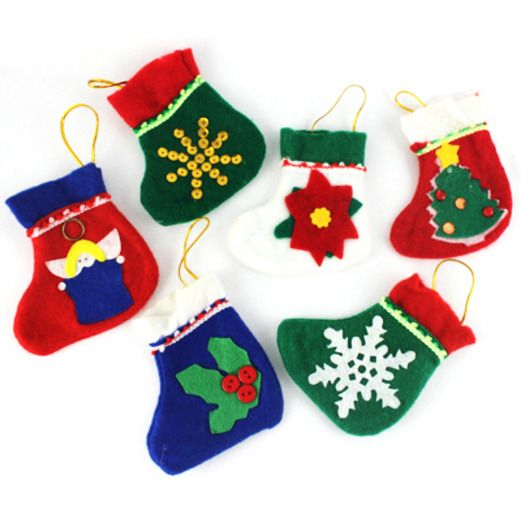 Christmas Favors & Prizes Mini Felt Holiday Stockings Image