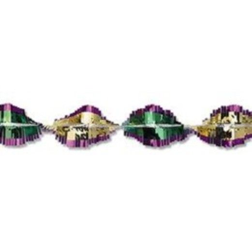 Mardi Gras Decorations Green-Gold-Purple Metallic Twirl Festooning Image