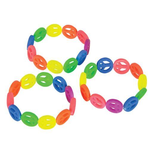 Favors & Prizes Neon Peace Sign Bracelets Image