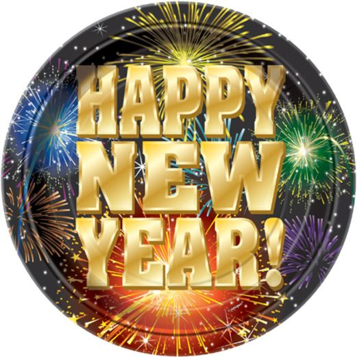 New Years Table Accessories New Year's Fireworks Lunch Plates Image