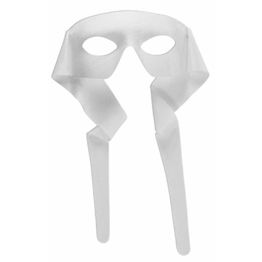 Mardi Gras Party Wear White Mask with Ties Image