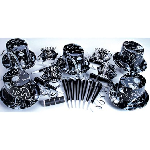 New Years Party Kits Silver Ebony Kit for 50 Image