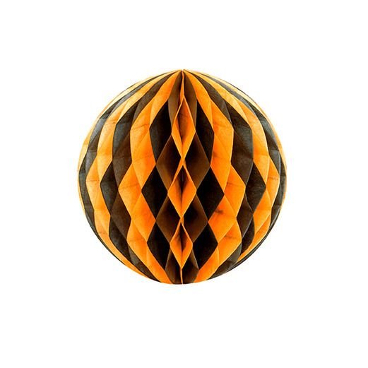 "Halloween Decorations 8"" Orange-Black Tissue Ball Image"