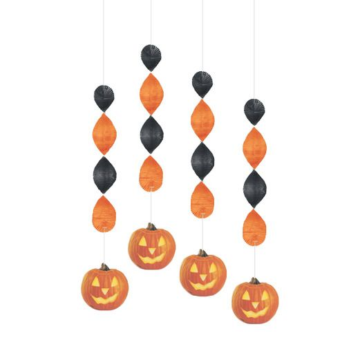 Halloween Decorations Pumpkin Foil Whirls Image