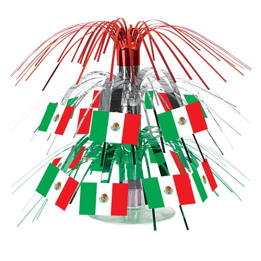 Cinco de Mayo Decorations Mini Mexican Flag Cascade Centerpiece Image