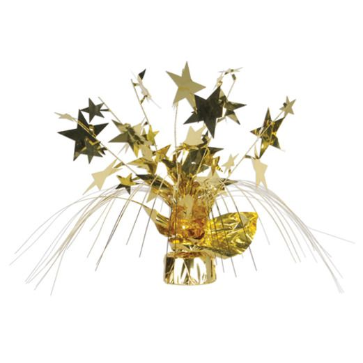 New Years Decorations Gold Star Gleam N Spray Centerpiece Image