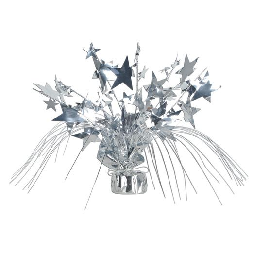 New Years Decorations Silver Star Gleam n Spray Centerpiece Image