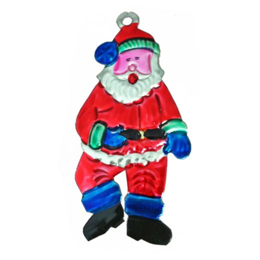 Christmas Decorations Santa Tin Ornament Image